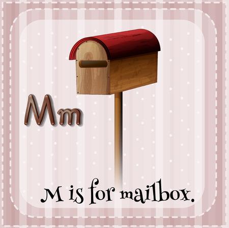 lettres alphabet: Flashcard lettre M est pour la boîte aux lettres Illustration
