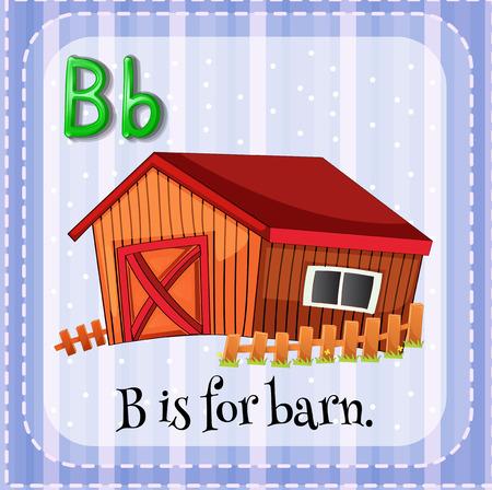 lettres alphabet: Flashcard lettre B est pour la grange