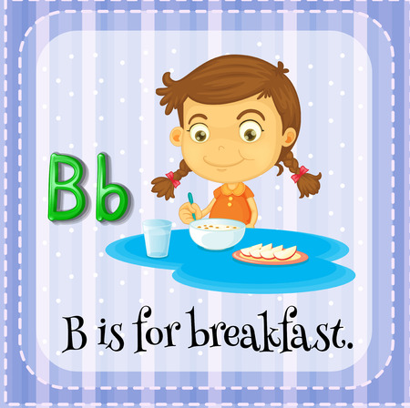 Flashcard letter B is for breakfast Vector