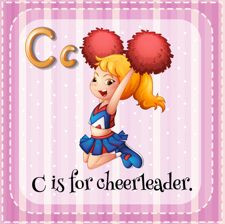 alphabet letters: Flashcard letter C is for cheerleader