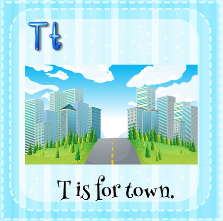 phonetic: Flashcard letter T is for town Illustration
