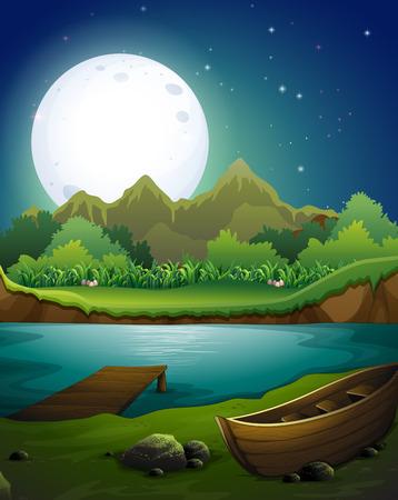 barco caricatura: Escena del río en la noche de luna llena