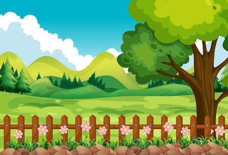 Scène van de tuin met veld en bloemen Stock Illustratie
