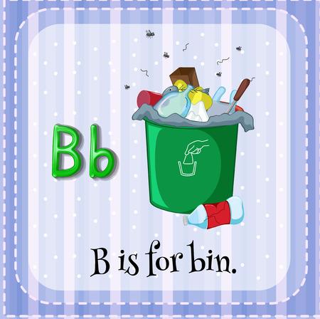 phonetic: Flashcard letter B is for bin Illustration