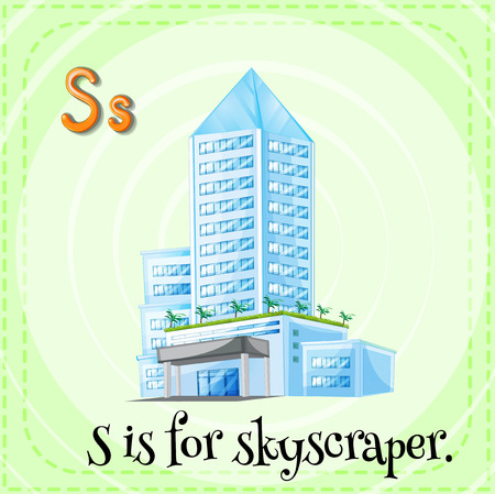 alphabet letters: Flashcard letter S is for skyscraper Illustration