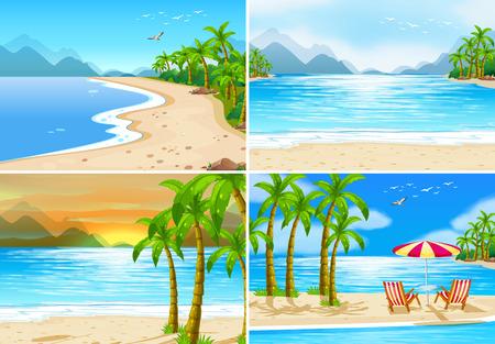 Cuatro escenas de playa en diferente hora del día