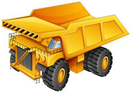 dumper: Closeup simple design of yellow mining truck