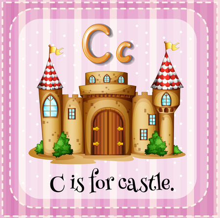 phonetic: Flashcard letter C is for castle