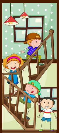 down: Children walking up the stairs