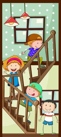 upstairs: Children walking up the stairs
