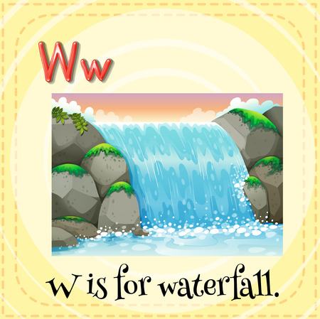 phonetic: Flashcard letter W is for waterfall