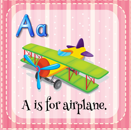phonetic: Flashcard letter A is for airplane