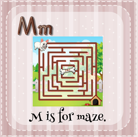 alfabeto con animales: Flashcard letra M es para laberinto