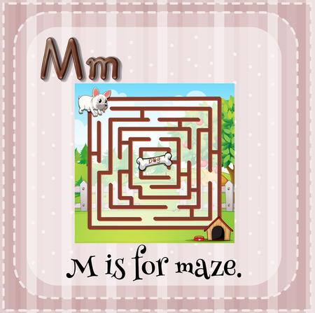 lettres alphabet: Flashcard lettre M est pour labyrinthe Illustration