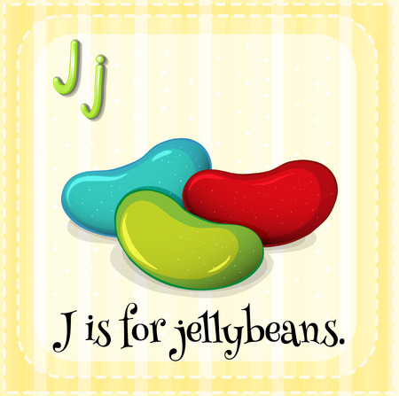 J: Flashcard letter J is for jellybeans