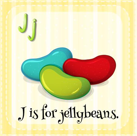 lettres alphabet: Lettre de Flashcard J est pour jellybeans
