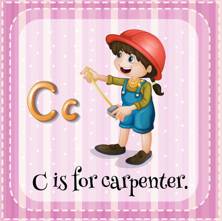 letter alphabet pictures: Flashcard letter C is for carpenter Illustration