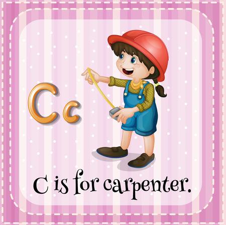 lettres alphabet: Flashcard lettre C est pour charpentier