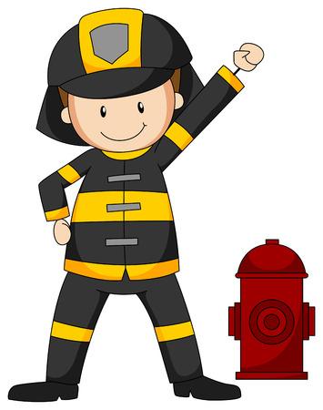 Closeup fireman in protective clothes Vector