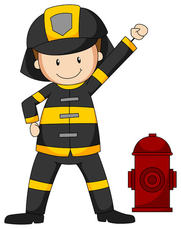 Closeup fireman in protective clothes Illustration
