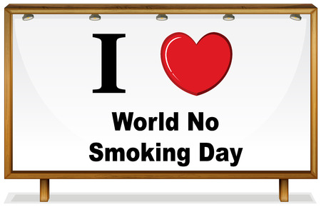 I love World no smoking day in wooden frame Vector