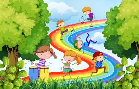 arcoiris caricatura: Los niños que juegan sobre el arco iris de colores
