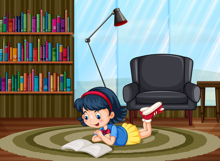Happy girl reading in a private room