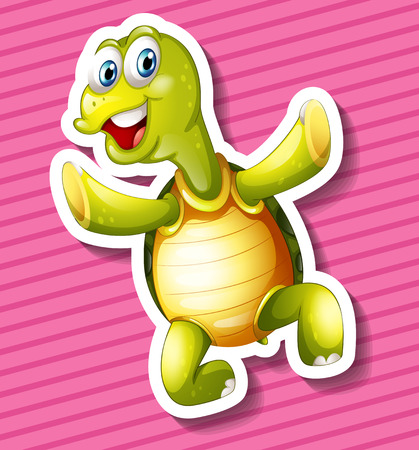 closeup: Closeup happy turtle on pink background