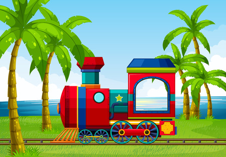 ferrocarril: Paseo en tren a lo largo del oc�ano Vectores