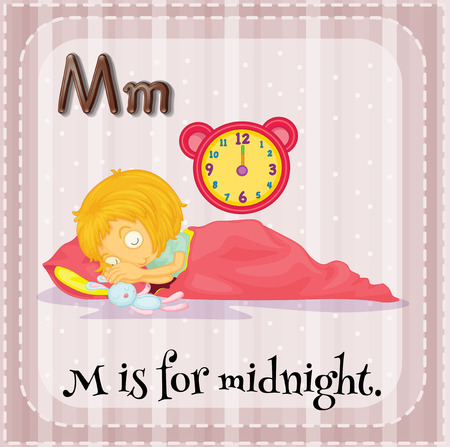 phonetic: Flashcard letter M is for midnight