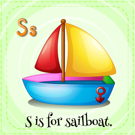 linguistic: Flashcard letter S is for sailboat Illustration