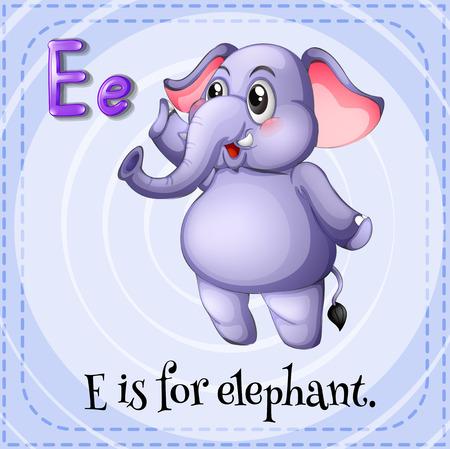 phonetic: Flashcard letter E is for elephant Illustration
