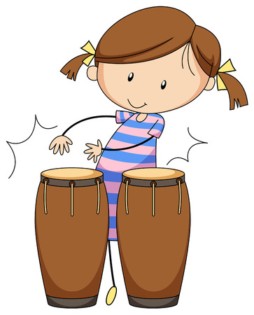 instrument practice: Closeup happy girl playing drums