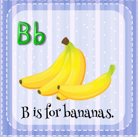 lettres alphabet: Flashcard lettre B est pour les bananes Illustration