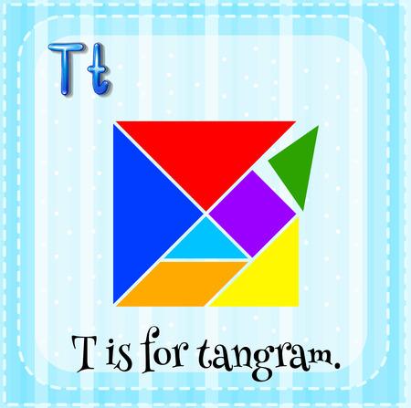 lettres alphabet: Flashcard lettre T est pour tangram