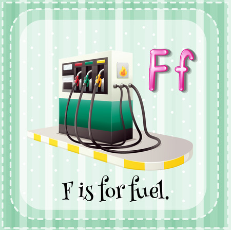 phonetic: Flashcard letter F is for fuel Illustration