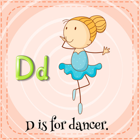 phonetic: Flashcard letter D is for dancer Illustration