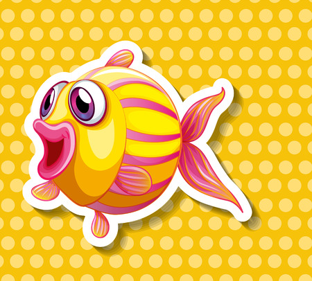 single fin: Closeup yellow fish on yellow polkadot background