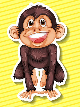 closeup: Closeup happy monkey on yellow background