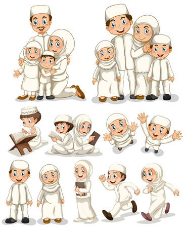 family isolated: Muslim people doing activities Illustration