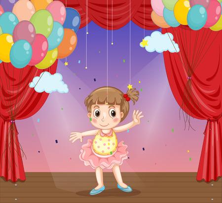 tanzen cartoon: Glückliche Mädchen tanzen auf der Bühne