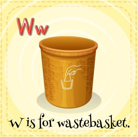 wastebasket: Flashcard letter W is for wastebasket Illustration