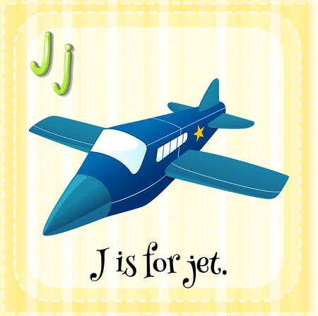 lettres alphabet: lettre de Flashcard J est pour jet