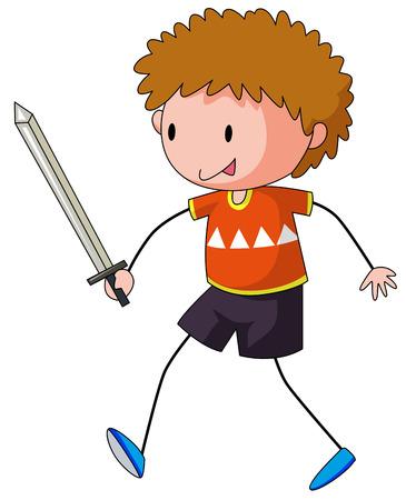 closeup: Nahaufnahme gl�cklich Junge spielt Schwertkampf