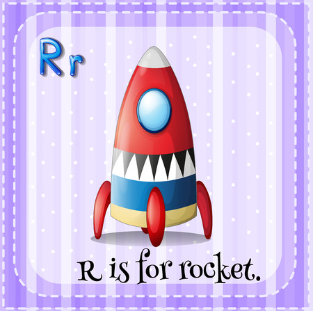 linguistic: Flashcard letter R is for rocket