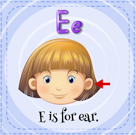 body part: Flashcard letter E is for ear