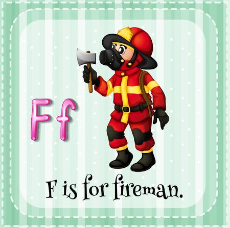 lettres alphabet: Lettre de Flashcard F est pour le pompier
