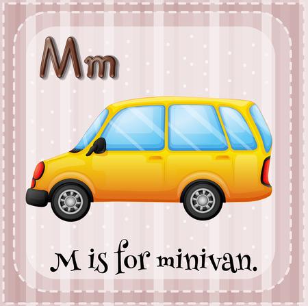 lettres alphabet: Flashcard lettre M est pour minivan Illustration