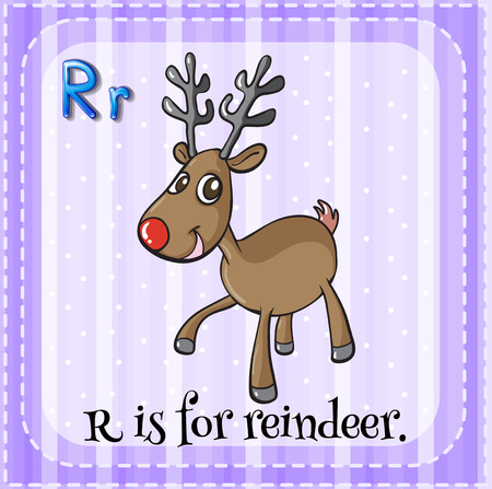 phonetic: Flashcard letter R is for reindeer
