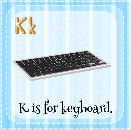 alphabet letters: Flashcard letter K is for keyboard Illustration